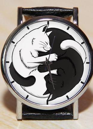 Часы коты, часы инь янь, женские часы, мужские часы, наручные час