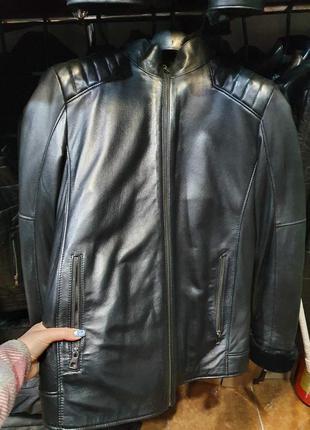 Мужская кожаная куртка зимняя