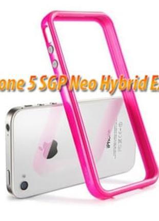 Бампер для iPhone 5 SGP Neo Hybrid EX 5s, цвет Ярко розовый