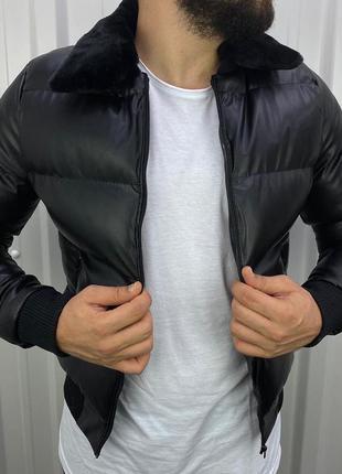 Стёганная кожаная куртка на меху