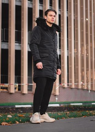 Зимняя парка all black с мехом
