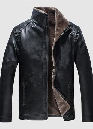 Зимняя куртка из эко-кожи, утепленная мехом