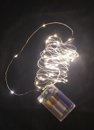 Гирлянда роса на батарейках,желтый теплый свет,гирлянда нить б...