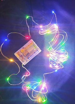 LED Гирлянда роса на батарейках,гирлянда нить