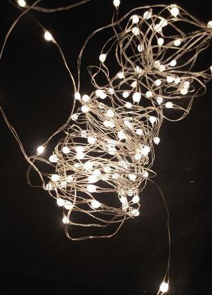LED Гирлянда роса от сети. Теплый желтый свет,гирлянда нить декор