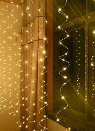 Гирлянда электрическая ШТОРА 600 LED бело-теплый 3м*2м