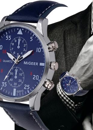Наручные мужские часы с синим ремешком