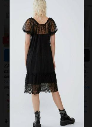 Вечернее кружевное платье миди zara.