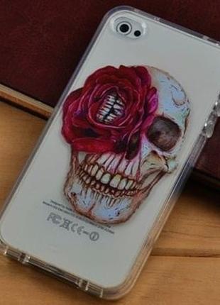 Силиконовый чехол Skull With rose для IPhone 5/5s