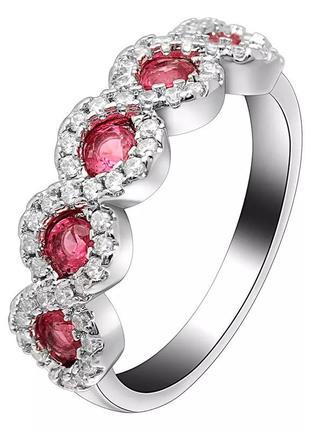 Нежное кольцо с красными кристаллами, 925 проба