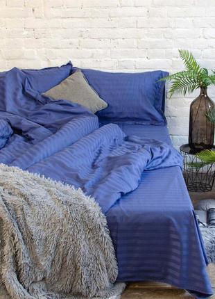 """Комплект постельного белья """"синий индиго"""" из ткани страйп сати..."""