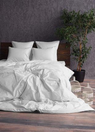 Белый комплект постельного белья из ткани страйп сатин, есть в...