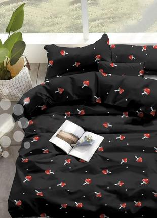 Комплект постельного белья с грибочками и звездочками, черный,...