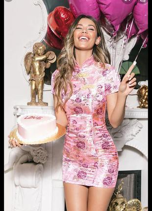 ❤️sale к 8 марта !!❤️ розовое жаккардовое платье в китайском...