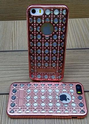 Силиконовый чехол Luxury Diamond Rose Gold Розовое Золото для iPh