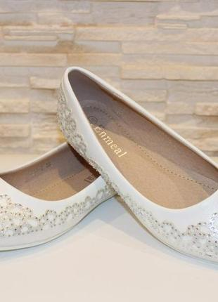 Туфли балетки женские белые