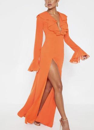 ❤️sale к 8 марта !!❤️  роскошное шифоновое оранжевое вечерни...