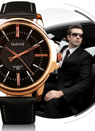 Мужские наручные часы с черным ремешком