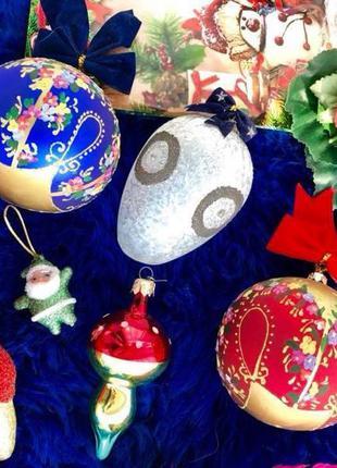 Новогодние игрушки/шары стекло/Елочные игрушки.Герлянды.Елка.