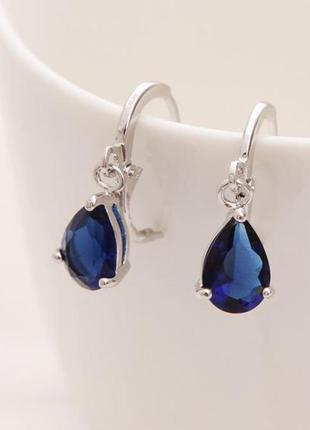 Серьги с синими цирконами покрытие серебро