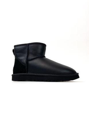 Крутые угги ugg classic ii mini black leather черные / сапоги ...