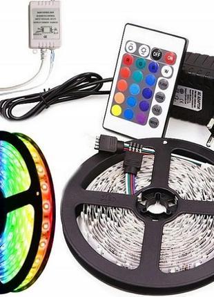 Светодиодная RGB Led лента 3528, влагозащищенная 5м + пульт