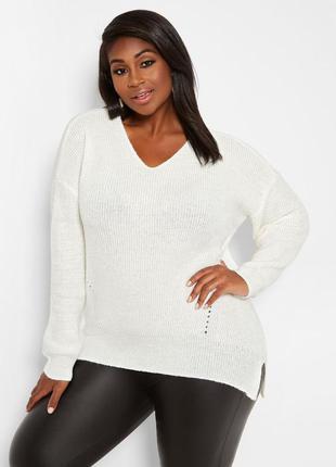 Белый вязанный свитер с вырезом большой размер кофта плюс сайз...