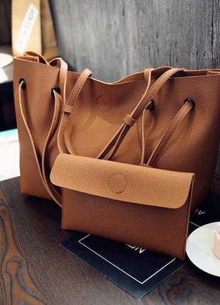 Большая сумка с косметичкой женская коричневая