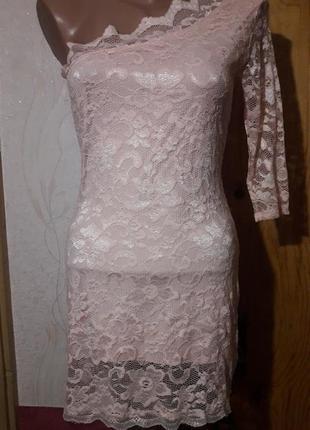 Гипюровое платье на одно плечо