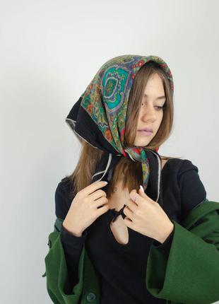 Kreier квадратный винтажный шерстяной платок из шерсти, косынка
