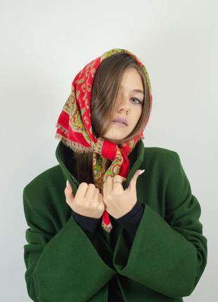 Квадратный винтажный шерстяной платок из шерсти, косынка с при...