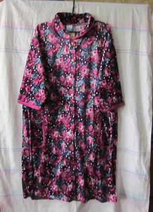 Халаты женские больших размеров велюровые 56-66 размер на пуго...