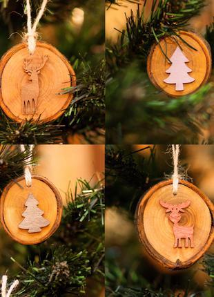 Деревянные игрушки новогодние на елку Дерево AF-501
