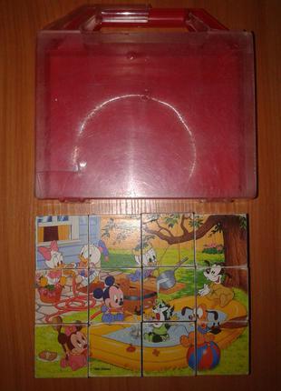 Кубики - Пазл, Дисней (Disney). 1985 Год. Игра Игрушка 12 Кубиков