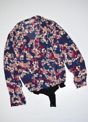 Боди, комбидресс рубашка на запах с длинным рукавом justfab