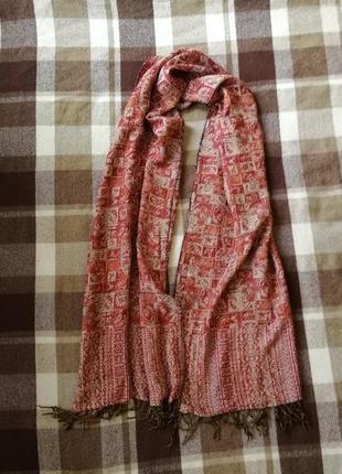 Палантин шарф в огурцах, бленд с шерстью и хлопком
