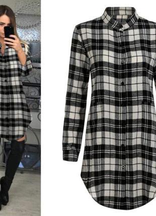 Стильное платье рубашка в клетку с гипюром от new look