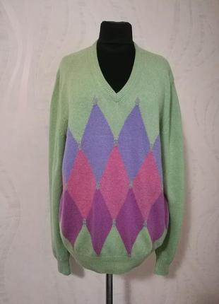 Красочный кашемировый джемпер,пуловер 100% кашемир