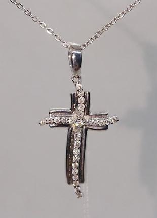 Золотой крест крестик фигурный белое золото 750  бриллиант видео