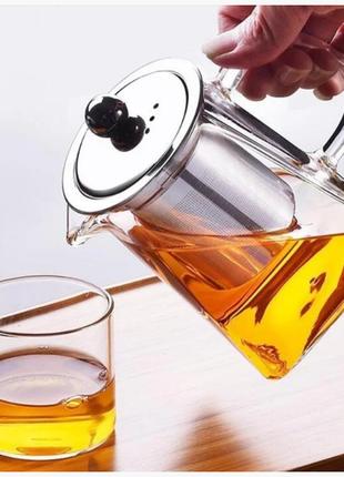 Чайник заварочный стекло Прямоугольный