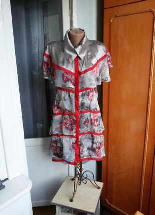 Легкое воздушное  дизайнерское шелковое платье aziza zina швей...