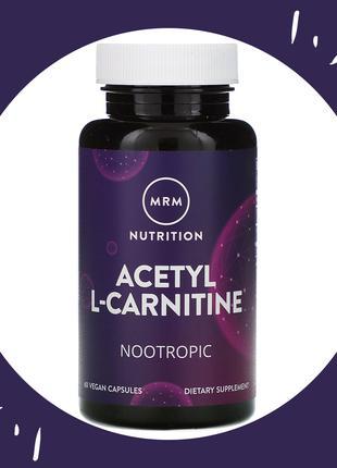 MRM ацетил L-карнитин, 60 таб., Acetyl L-Carnitine, жиросжигатель