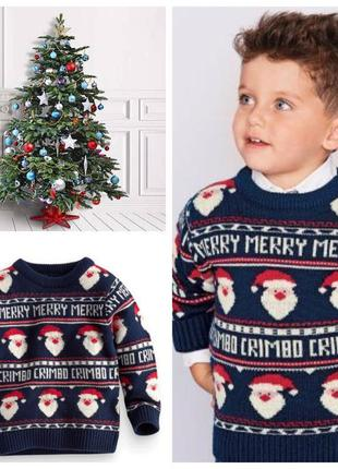 Праздничный теплый рождественский свитер next на 1,5-2 года