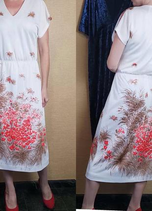 Белое платье миди сукня с цветами