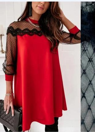 ❤️шикарное платье миди с прозрачеыми рукавами  гипюр