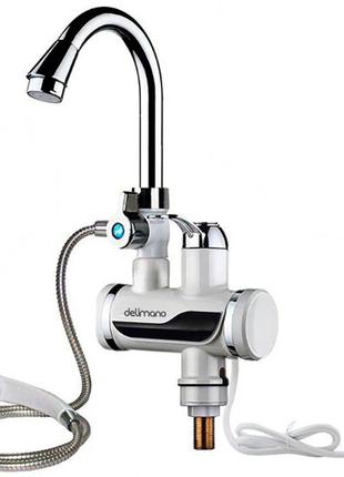 Проточный водонагреватель Delimano PRO, с душем, нижнего подключе