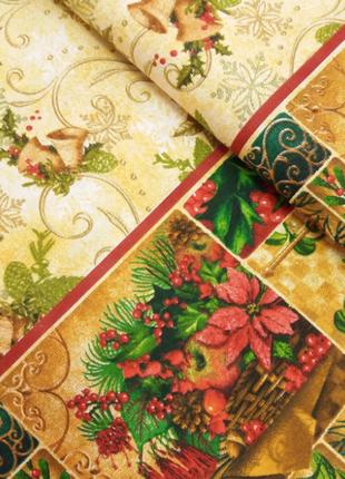 Новогодняя праздничная  льняная  скатерть на раскладной стол 2...