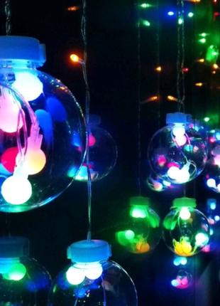 Новогодняя гирлянда - штора с шариками