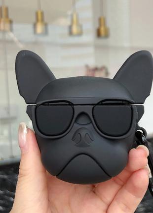 Силиконовый 3D чехол Бульдог для наушников AirPods (Black)
