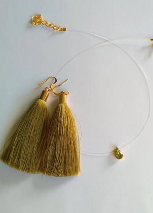 Подвеска-невидимка и сережки кисточки